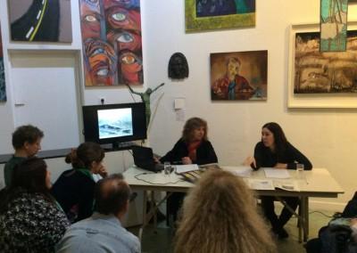 Mirta Córdoba en la Conferencia de cierre de la muestra de artistas plásticos de Neuquén (ANAP)